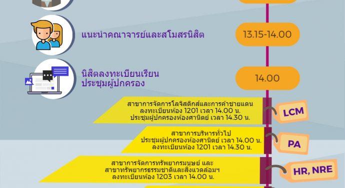 กำหนดการปฐมนิเทศนิสิตใหม่ ปีการศึกษา 2560